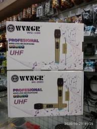 Microfone sem fio duplo UHF digital com ajuste de frequência
