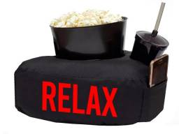 Kit almofada relax com balde de pipoca + copo refri vermelho