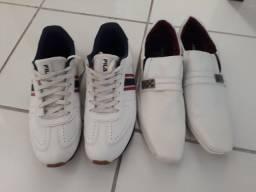 1 tênis da fila e sapato social branco