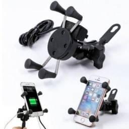 Suporte de Celular para moto, com saída USB 12V