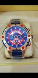 Relógio Invicta Marvel Capitão América Dourado a prova d'água Completo