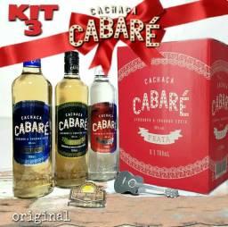 Kit Com 3 Cachaças Cabaré Prata + Ouro + Amburana 700ml cada. Pega Fogo Cabaré!<br><br>