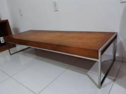 Rack aparador baixo de madeira maciça com aço peça exclusiva