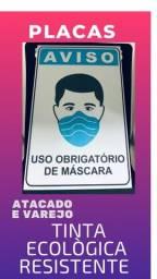 Placas de sinalização uso de máscara