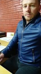 Jaqueta couro slim foto azul