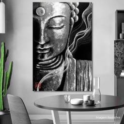 Quadro Buda Black Pintado à Mão 100x70cm / Feng Shui, Decoração Japonesa, Estampa Oriental