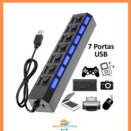 Hub USB 2.0 7 portas com LED indicador