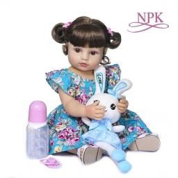 Bebê Reborn 55cm Vestido Floriado com coelhinho
