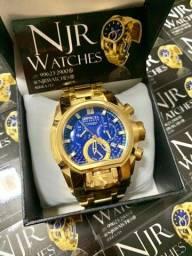 Relógio Invicta magnum fundo azul banhado novo