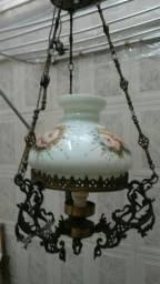 Lustre de bronze cupula de vidro