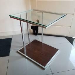 Mesa de Canto P/ Notebook Cromada C/ Vidro Encaixa No Sofá