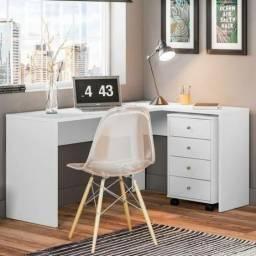 Escrivaninha mesa de escritório em formato L (branco e nogal) entrega gratuita