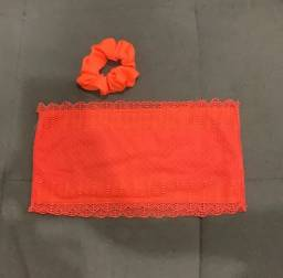 Top c scrunchie laranja neon