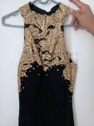 Lindo vestido de festa preto com dourado
