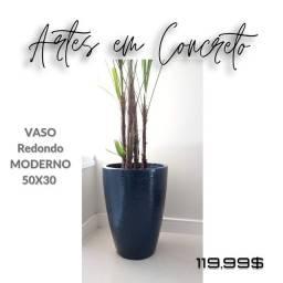 Vaso de Concreto Redondo Moderno 50x30