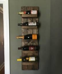 Suporte Adega para garrafa de vinho, feito de madeira de palate