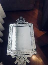 Raridade, Espelho Veneziano Lindo cristal retangular vertical bizotado e jateado