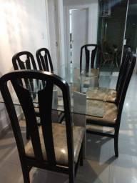 Mesa 6 cadeiras, pés de mármore com base de vidro