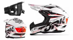 Capacete Motocross Protork Fast Skull + Óculos Endure Blast