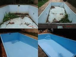 Reformas e pinturas em piscinas de fibra