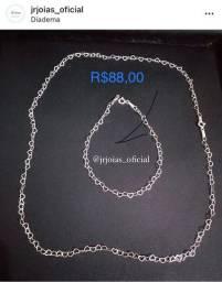 Conjunto corações, prata 925, garantia permanente