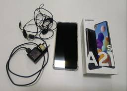 Smartphone Samsung Galaxy A21s 64GB Branco 4G - 4GB RAM 6,5? Câm. Quádrupla + Selfie 13MP<br>
