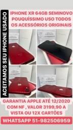MEGA OPORTUNIDADE IPHONE XR 64GB LACRADO ANATEL DESBLOQUEADO GARANTIA APPLE 12/2020 COM NF