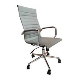 Cadeira Presidente Eames Office Cromada Lisa Cinza Nova / Nfe / Garantia