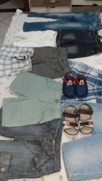 IMPERDÍVEL: LOTE  de roupas e sandálias infantis, só  100,00