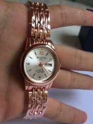 Relógio Wisth Dourado Feminino Data Novo