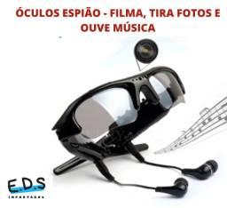 Câmera Óculos de Sol Espião Filma e Tira Fotos Ouve Música