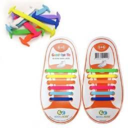 Cadarços Para Tênis Sapato Infantil Juvenil Silicone P/ 1 Par Tênis