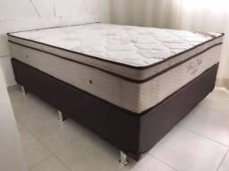 Cama Box + Colchao Ortobom Pro-Vida casal 138x188 Linha ouro