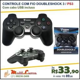 Controle Joystick DoubleShock 3 USB Ps3 Playstation pc cabo Vision