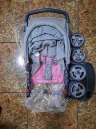 Carrinho de Bebê Marca Whoop ( cinza e rosa )