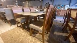 Título do anúncio: Mesa nova completa pronta entrega de madeira e acabamento laka luxo
