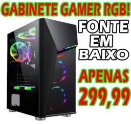 Gabinete Gamer Grande com Led RGB Controlavel! (Vários Efeitos) Lateral Transparente!