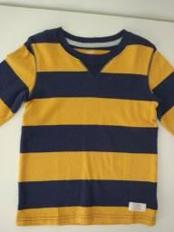 Blusa algodão Carters (4T) listras amarelas/azuis