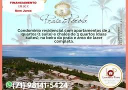 Em Ilhéus, Praia da Pérola, 2 Quartos, 01 suíte, 68 m², (60X Sem Juros) Pé na Areia.