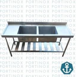 Pia 1.80mt 2cubas Aço Inox Fabricante Portinox