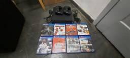 Ps4 Slim 1TB, 2 controles e 8 jogos