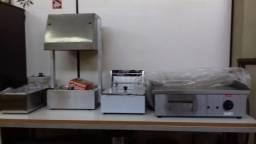 fritadeiras elétricas, conservador de batata e alimentos chapa elétrica inox