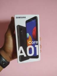Samsung Galaxy A01 Core 32GB Preto - Processador Quad-Core 2GB RAM Câm.8MP + Selfie 5MP