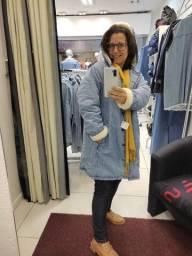 Parka feminino jeans forrado