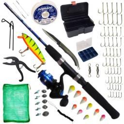 Kit de Pesca Completo Vara P/ 3-6 KG C/ Molinete e 80 Unidades