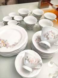 Jogo de chá e café c 30 peças porcelana Schimidt