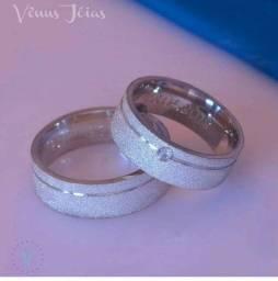 Aliança em prata 925 diamantada