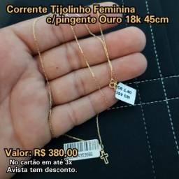 Corrente Tijolinho Feminina c/crucifixo Ouro 18k 45cm