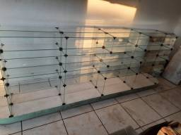 Gôndola/balcão/expositor central de vidro