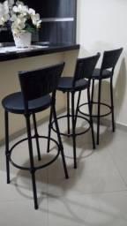 3 Banquetas Preta Cozinha Bancada Alta - Encosto e Detalhes Fibra Sintética Novas